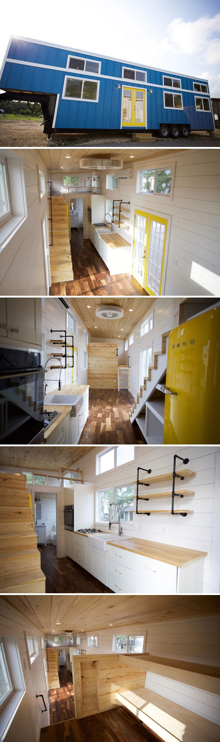 This gooseneck tiny house was built for a couple and their three kids. The 35' gooseneck trailer has a 7' deck over neck, totaling over 330 sq.ft. of space.