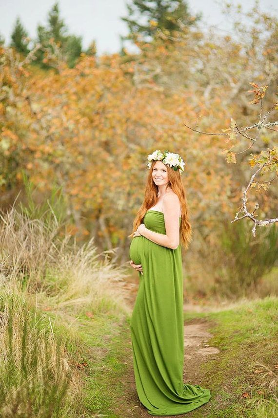 The EMMALINE green jersey maternity gown  by JazzCraftBoutique