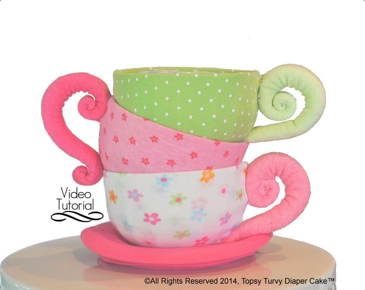 Diaper Cake Teacups, Baby Beanie Teacups, WashAgami ™. Pattern and Instructional Video (New HD quality video) by TopsyTurvyDiaperCake on Etsy https://www.etsy.com/listing/194759657/diaper-cake-teacups-baby-beanie-teacups