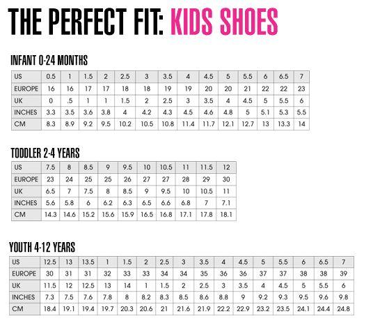 Kid shoe size chart