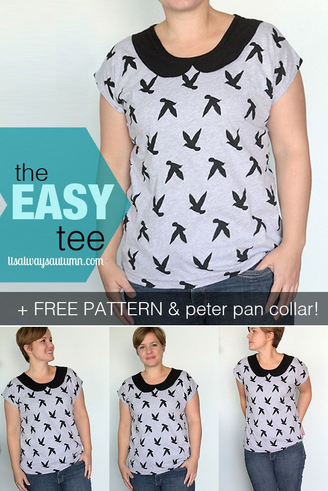 free pattern for the easiest ever women's t-shirt with cute optional peter pan collar. pattern is size L, but post links to directions for making your own pattern in a different size. easy step by step sewing directions.