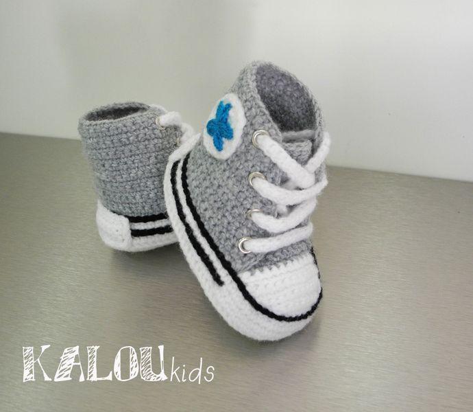 1d00623ae1529 crochet baskets converse modèle de chausson libre - Akileos