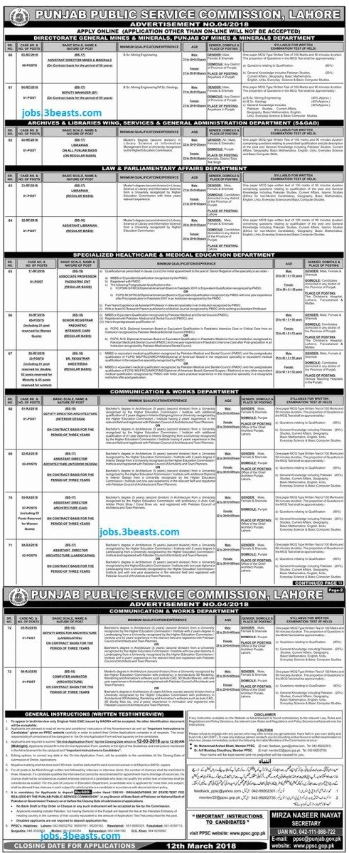 Jobs Punjab Public Service Commission advertisement date 26 Feb 2018