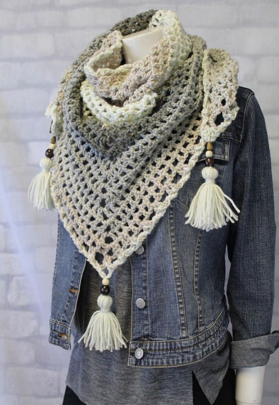 Classic, neutral yet soo cozy. Don't you just want to wrap this around you! Love the grey tones and giant tassels #scarf #trianglescarf #bandanascarf #pompom #beads #springscarf #winterscarf