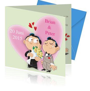 Grappige gay trouwkaarten voor de bruiloft. Een leuke trouwkaart voor de mooiste dag van uw leven speciaal voor homo's en gay stellen.