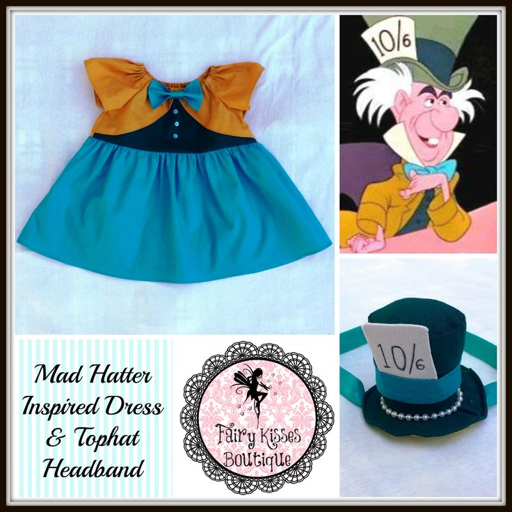 Custom order: Mad Hatter Inspired Dress and Headband