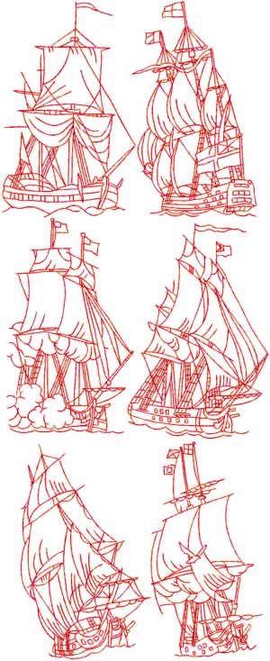 Sailing Ships Redwork Set