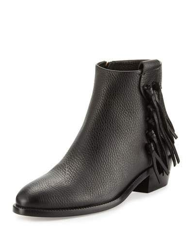 Pebbled Leather Bootie with Fringe Trim, Black
