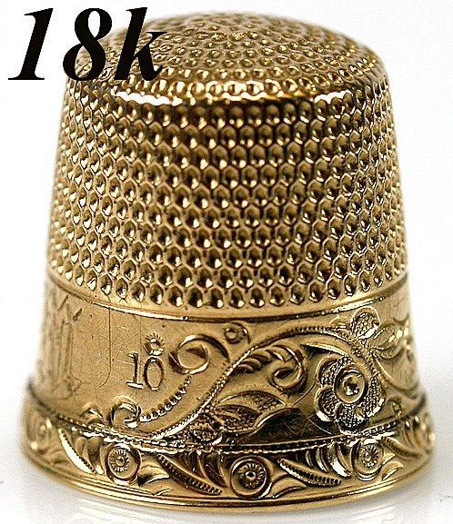 18k gold thimble, no older than 1838: Thimble Gyűszű, Collecting Thimbles, Amazing Thimbles, Antique Notions, Antique Thimbles, 18K Gold