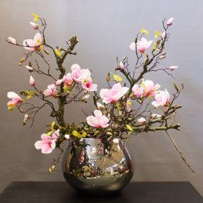 Magnolia in zilveren bol vaas :: Seta Fiori webshop www.setafiori.nl