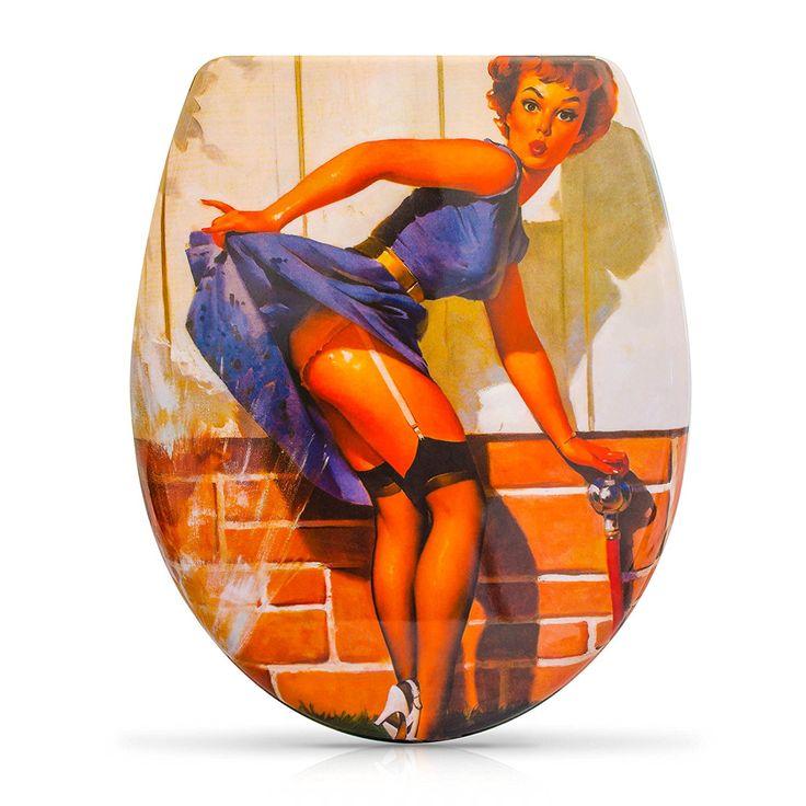 "VENKON - Premium WC Sitz mit Absenkautomatik - Modell ""Pin Up Girl"" - Toilettendeckel aus Duroplast (antibakteriell) inkl. Montagesatz"
