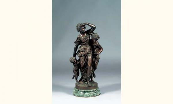 MATHURIN MOREAU (1822-1912) - JEUNE FEMME GUETTANT..., Tableaux Anciens, Extrème-Orient, Argenterie, Mobilier et Objets d'Art à Aguttes