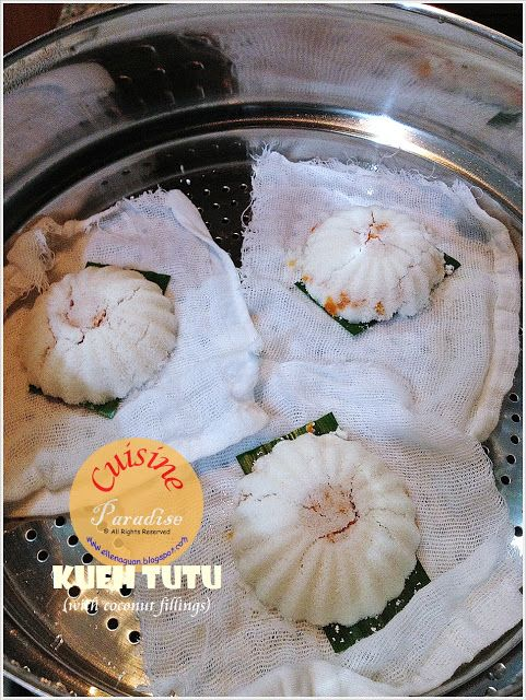 Kueh Tutu  ( 嘟嘟糕 ) is a traditional Singaporean delicacy which is made using roasted rice flour  and fillings such as grated coconut  o...