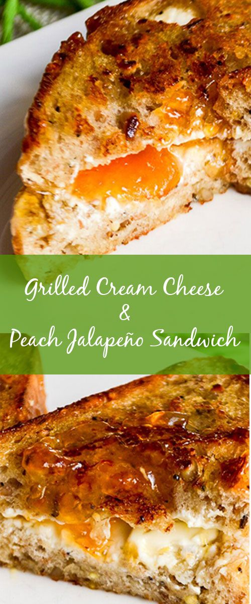 A grilled cheese combo must-try: sweet with a bit of heat Peach Jalapeño Jam and melted cream cheese. Hello comfort food!