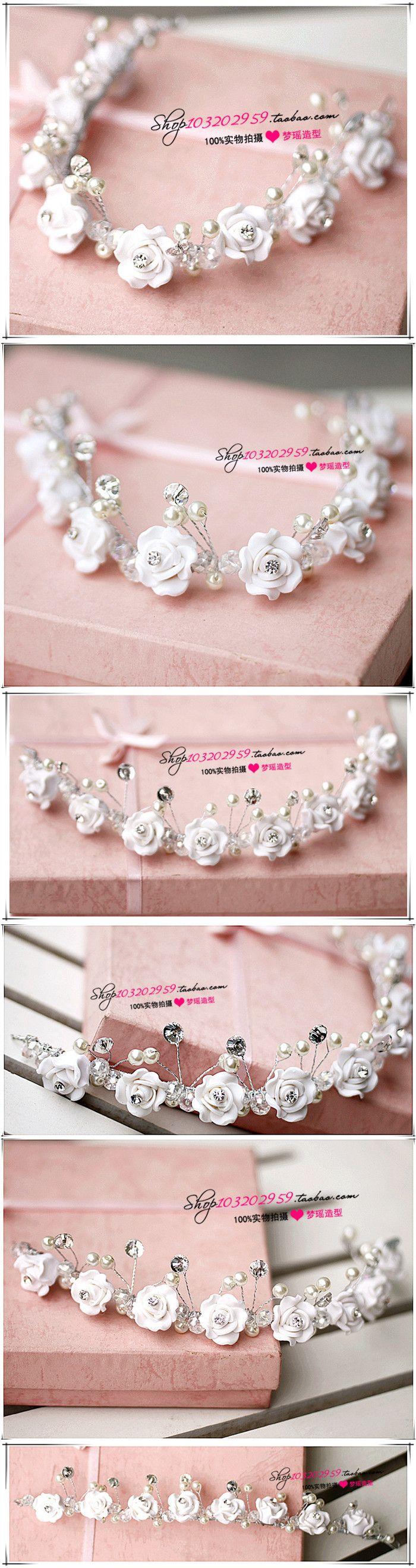 Мэн Яо кристалл смолы форма цветка небольшие свежие цветы головной убор аксессуары для волос невесты ювелирные изделия с бриллиантами небольшой корона - Taobao