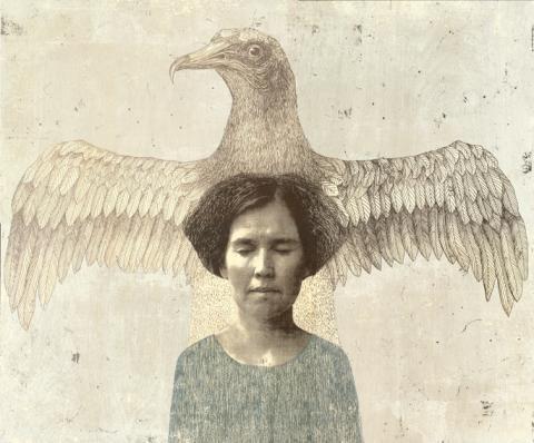 Piia Lehti: Ajatuksen vapaus / Freedom of Thought, 2013, silkscreen on plywood,  55 x 66 cm