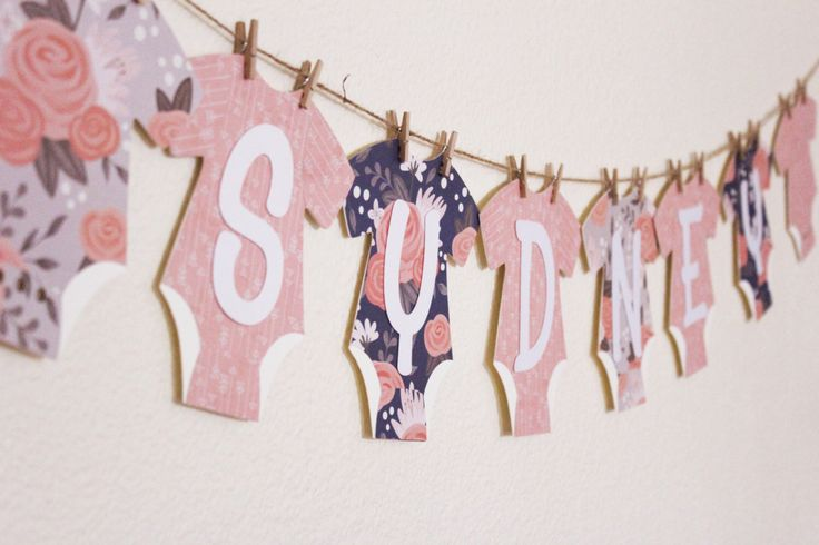 Navy Coral and Gray Baby Shower Banner | Baby Name Garland | Baby Shower Decor by JacqsCraftyCorner on Etsy https://www.etsy.com/listing/263709130/navy-coral-and-gray-baby-shower-banner