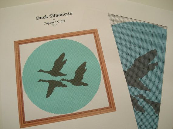 Flying Ducks Silhouette cross stitch needlepoint by cupcakecutie1, $3.00