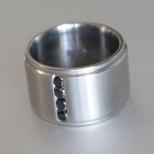 mens titanium ring with 4 x black diamonds