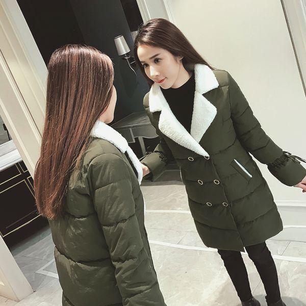 Ягненок волосы рог рукав хлопок 2016 зима новый двубортный длинный отрезок вниз хлопка конфеты цветные женского пальто