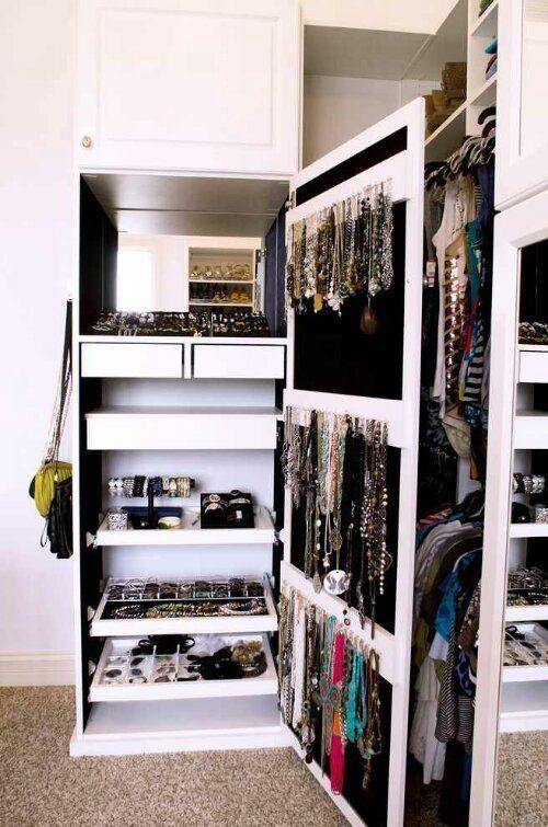 OMG, I think this is the next upgrade I need for all my bling. An #accessories #closet! --------------------------- For tips on how to create your dream #wardrobe, visit my Blog!! www.jensetter.com/2013/10/organizing-tips.html ---------------------------