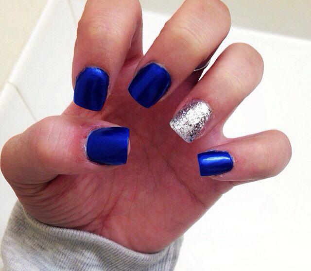 Blue Prom Nails: #royal #blue #sparkles #nails