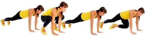 Grodhopp med mountain climbers Gört: Stå som i en planka med stabil, rak kropp och magen spänd. Hoppa fram med båda fötterna till utsidan av händerna. Hoppa bak med fötterna igen. Dra sedan upp höger fot mot vänster axel en gång och med vänster ben mot höger axel en gång. Börja sedan om från början med dubbelhoppet. Jobba i ett högt tempo så många du orkar med god teknik. Gör 2 set med hopprep mellan. Här ska det ta: Armar, axlar, bål, rumpa, ben.
