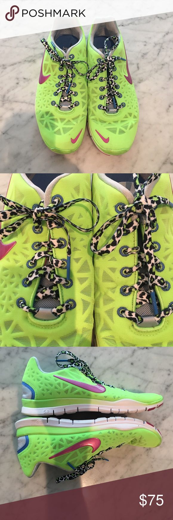 Nike Free 5.0 neon light weight running shoes Super light weight, neon Nike Free 5.0's with cheetah shoe laces and fun color accents Nike Shoes Athletic Shoes