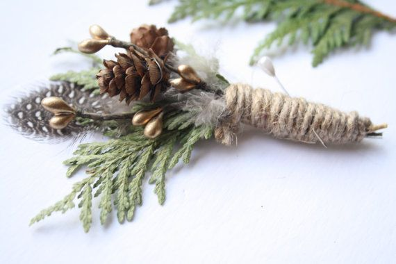 Rustic feather Boutonniere lapel pin Woodland wedding cedar boutonniere Groomsmen buttonhole pinecone boutonniere boho wedding SONG