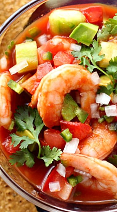 Mexican Shrimp Cocktail - in addition to being an appetizer, this recipe is also versatile and can be served as a refreshing, chilled meal on a warm day or even as a completely satisfying lunch on a cold day! ❊