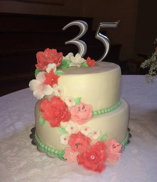 35th Anniversary Cake With Coral And Green Fondant Flowers