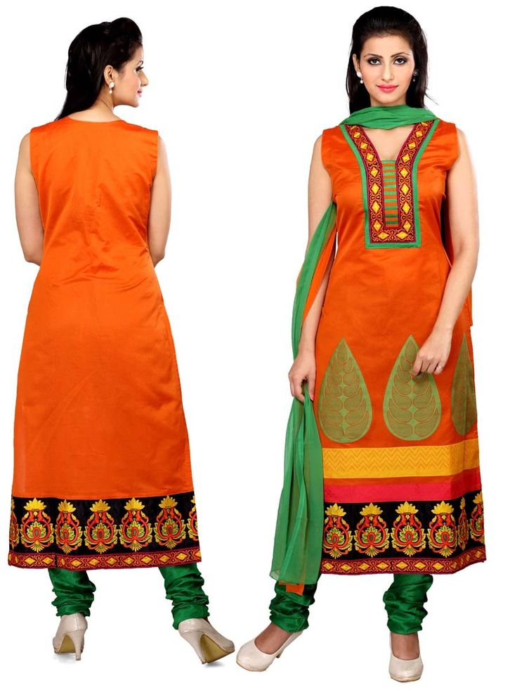 Miraculous orange color art silk kurta with resham embroidery work.  Item Code ; SLTY14 http://www.bharatplaza.com/new-arrivals/salwar-kameez.html