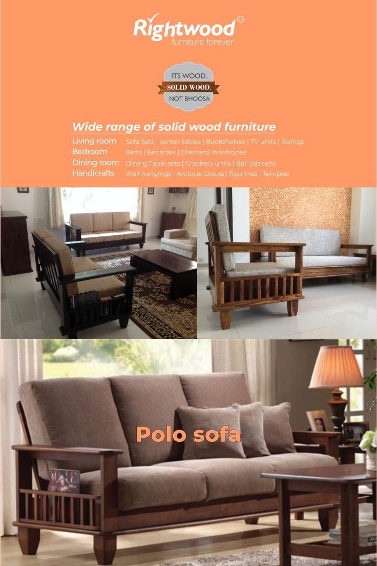 Wooden Sofa Set 3 1 1 Polo Wooden Furniture Online Wooden Sofa Designs Wood Furniture Living Room Wooden Sofa