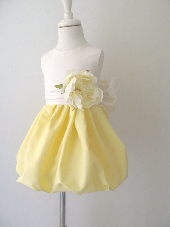 Light Yellow Flower Girl Dress with Pretty Peony Flower Sash