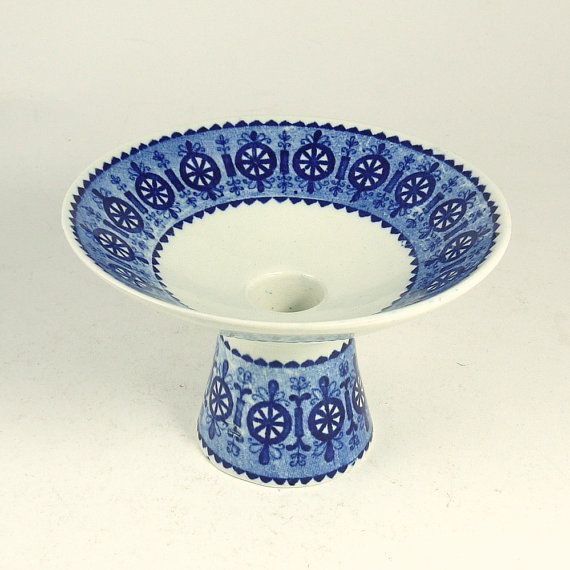 Vintage Mid Century Modern Arabia Finland Blue White Ceramic Candle Stick Holder on Etsy, $34.65