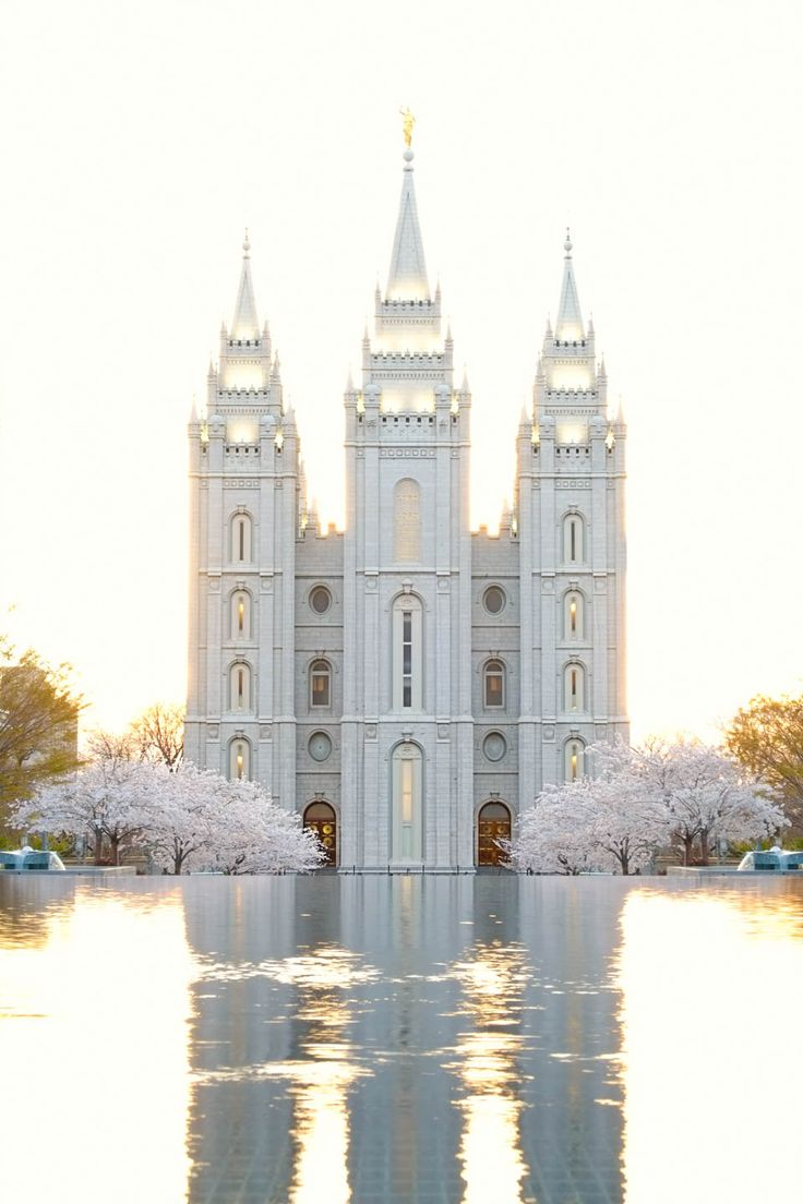 The Salt Lake Temple at dusk. Photographed with my Fuji camera