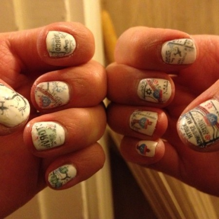 Road Trip: Roads Maps, Nails Art, Summer Roads Trips, Map Nails, Maps Nails, Awesome Nails Design, Travel Nails, Newspaper Nails, Vintage Nails