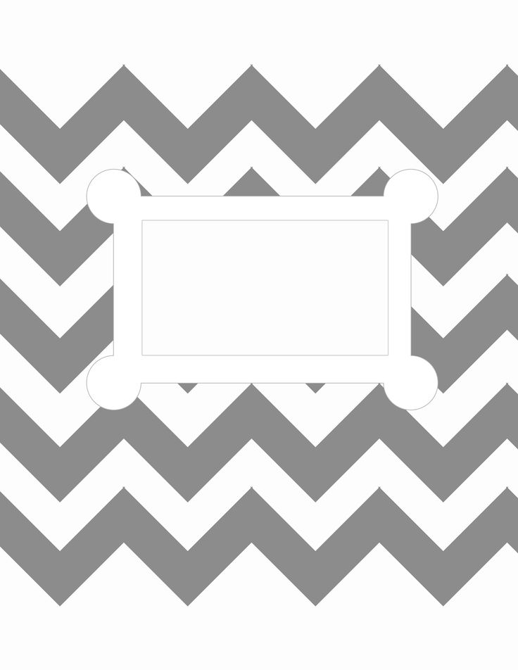 Free printable. 8.5 X 11, letter size, binder cover template. grey chevron
