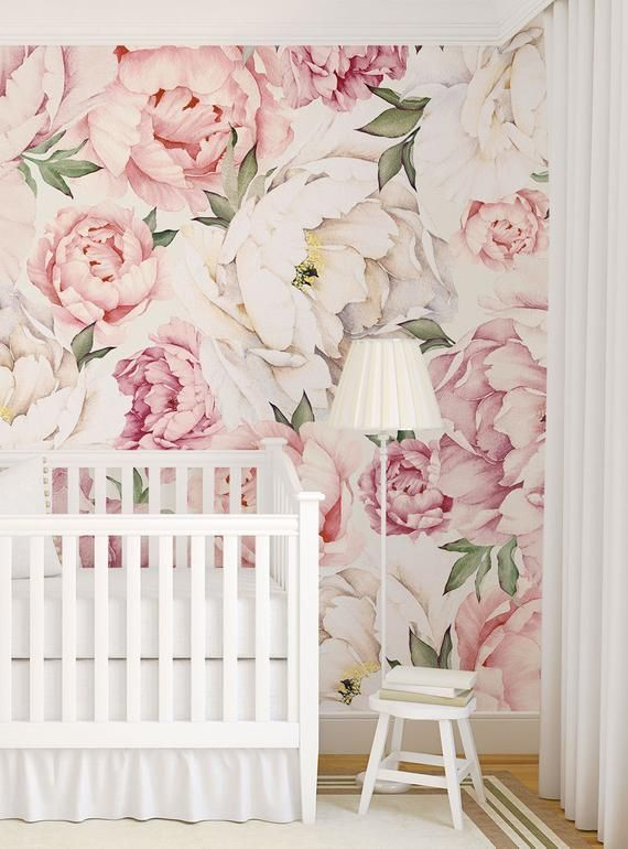 Peony Flower Mural Wallpaper Mixed Pink Watercolor Peony Etsy Flower Mural Peony Wallpaper Wall Art Wallpaper