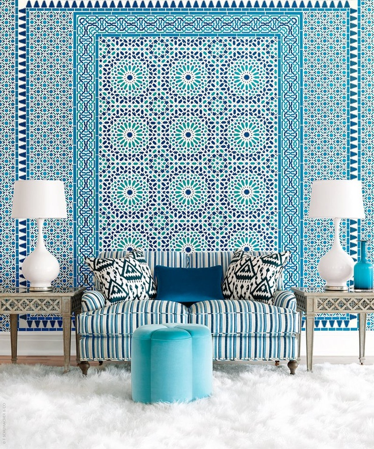 Pattern and pattern.Decor, Blue Interiors, Pattern, Moroccan Interiors, Livingroom, Colors, Living Room, Interiors Design, Moroccan Style