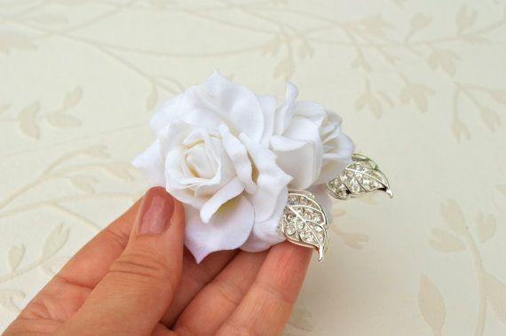 Bridal hairpiece White rhinestone headpiece Leaf от LumilinA