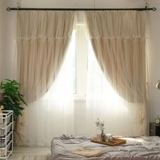1-Piece Beige Double-layer Curtain For Living Room Blackout Curtains For Bedroom Children Room Drapes