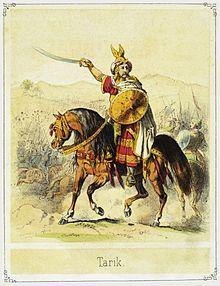 """Táriq, Táreq, Táric o Ṭāriq Benzema ibn Ziyād al-Layti (en árabe, طارق بن زياد, Tarik ) (m.722). General  bereber de Nafza, que dirigió la conquista musulmana de la península ibérica (Hispania visigoda), según la historiografía tradicionalmente admitida, basada en crónicas árabes de los siglos X y XI. El nombre """"Gibraltar"""" es el derivado en español del nombre en árabe Jabal Tāriq o Jab al-Tarik (جبل طارق), que significa """"montaña de Táriq"""", nombrada así tras su desembarco en este lugar."""
