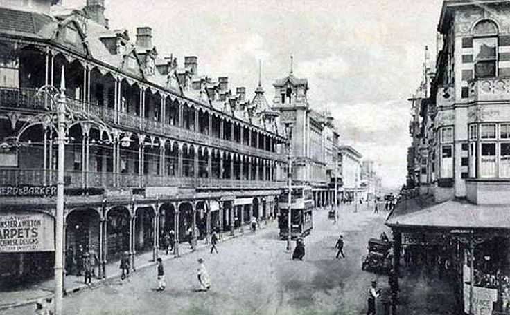 Long considered the main street of Johannesburg. Eloff Street, viewed from the station's side in a southerly direction. Circa 1900.