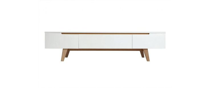 Meuble TV scandinave blanc brillant et frêne 180cm MELKA - Miliboo