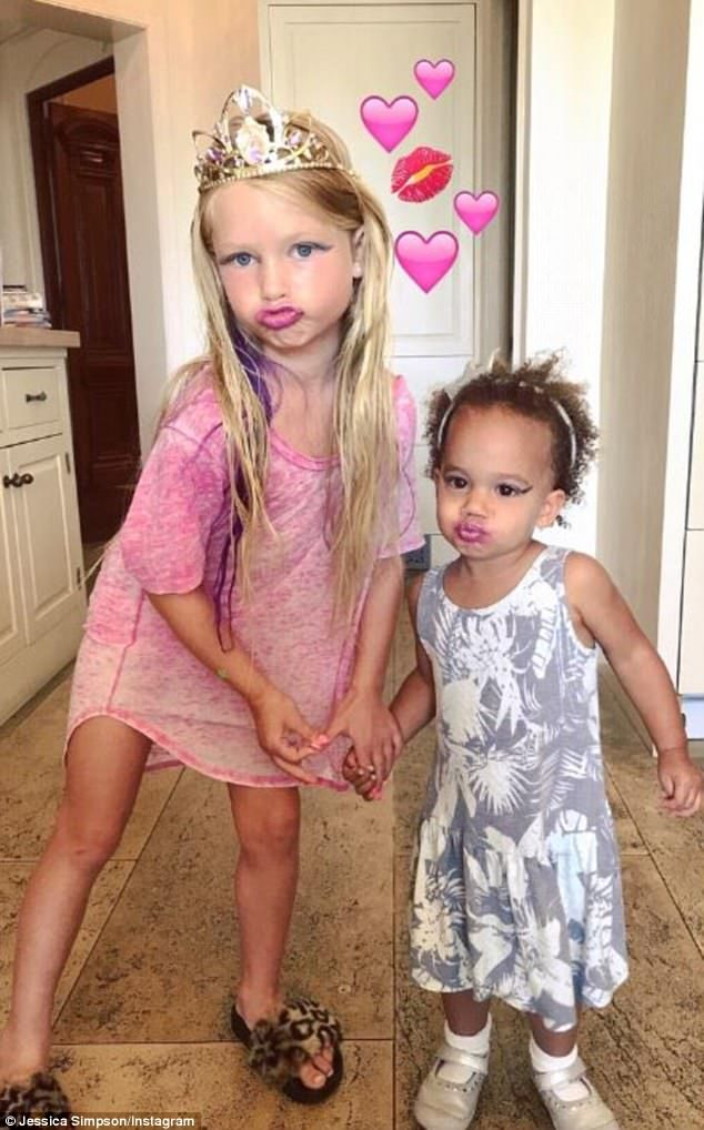BFFs in training: Jessica Simpson posted a snap of her five-year-old daughter Maxwell playing with CaCee Cobb's two-year-old daughter Wilder on Friday