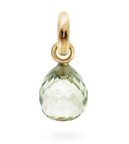Ole Lynggaard Copenhagen Sweet Drop charm Green Amethyst faceted on 18ct yellow gold - Kennedy Jewellers