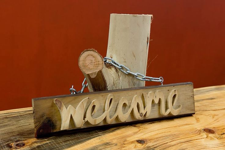 Custom recycled timber handcrafted welcome sign. 100% recycled and Australian made