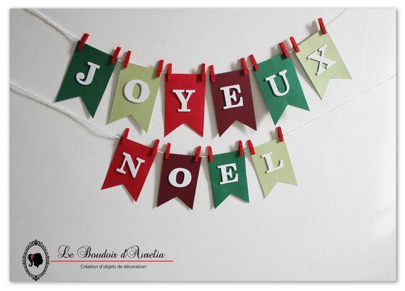 """Guirlande de Noël """"Joyeux Noël"""". Décoration de Noël. Rouge et vert."""