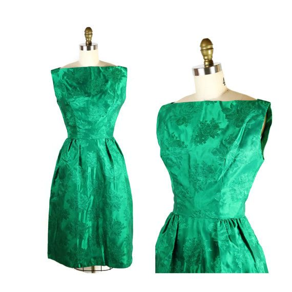 1950s Green Dress / 50s Dress Emerald Roses / by FoxburrowVintage